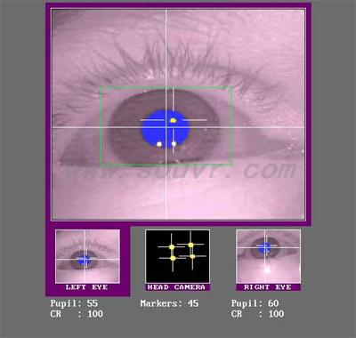 Partial screen shot of the Tracker Host Computer display screen during subject setup. The lower three images are from the three cameras (left eye, head, right eye). The upper image is of the selected left eye. In the eye images, the thresholded pupil area is shown in blue, while the thresholded corneal reflection is shown in yellow. The cross hairs in the eye images indicate the position of pupil center and the center of the corneal reflection. The head camera image shows the 4 LED markers around the display computer monitor.